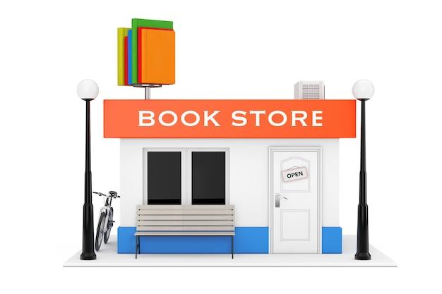 Toy cartoon book shop of book store gebouw gevel op een witte achtergrond. 3d-rendering