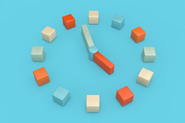 Toy children clock als meerkleurige houten kubussen op een blauwe achtergrond. 3d-rendering