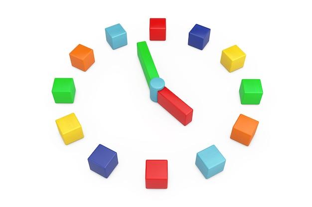 Toy children clock als meerkleurige houten kubussen op een witte achtergrond. 3d-rendering