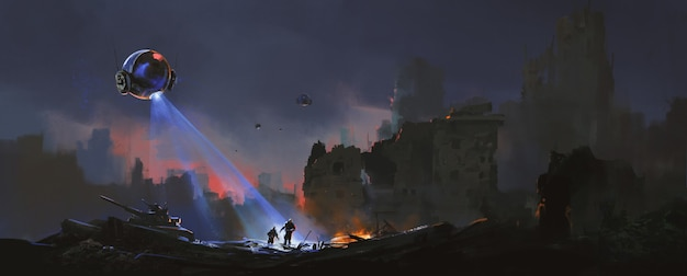 Trackers jagen op overlevende mensen in de ruïnes, sci-fi illustratie.