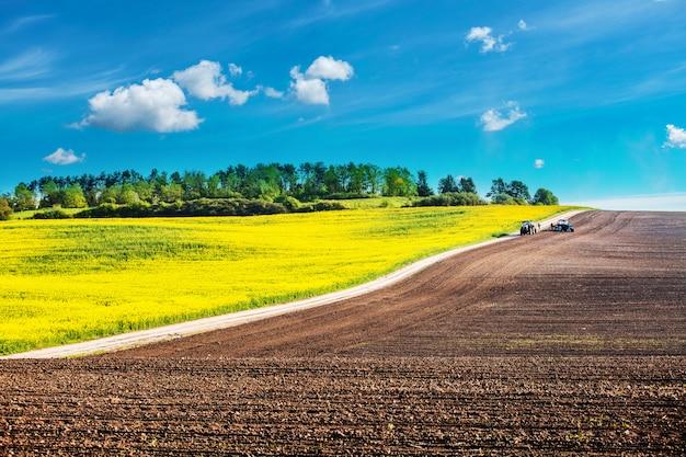 Tractor bespuitende pesticiden op sojaboongebied met spuitbus bij de lente