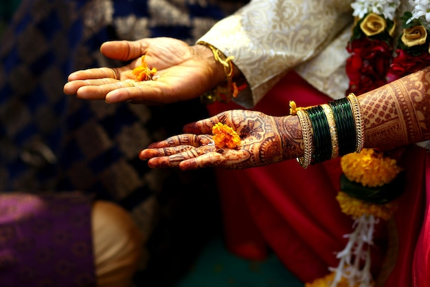 Traditie van trouwen in de hindoeïstische religie