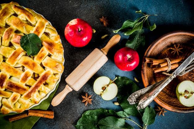 Traditioneel herfst bakken, zelfgemaakte appeltaart met kaneel