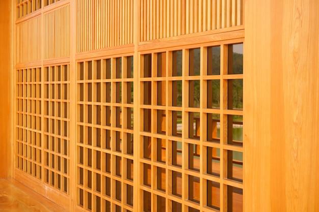 Traditioneel hout van de stijl van japan, textuur van japans hout shoji, het houten huis van de binnenhuisarchitectuur japanse stijl