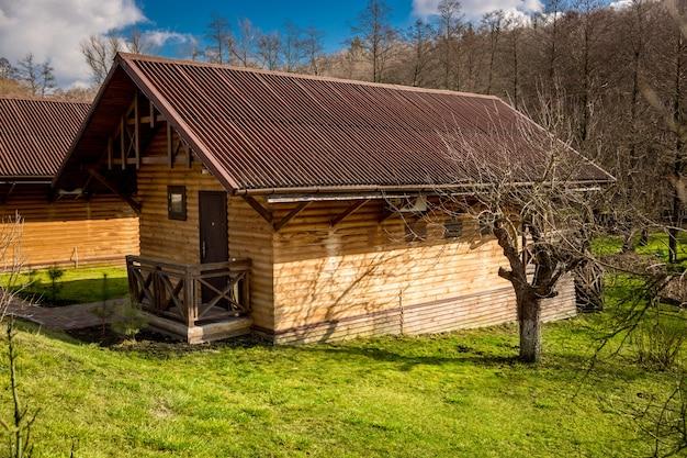 Traditioneel huis gemaakt van houten stammen in bos op zonnige dag