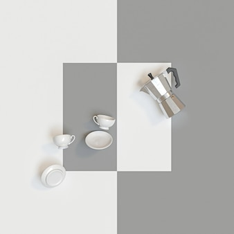 Traditioneel italiaans koffiezetapparaat en keramische kopjes op wit en grijs