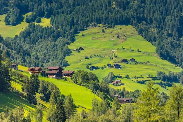Traditionele alpiene huizen in de groene bergen van de woudalpen. horizontaal schot