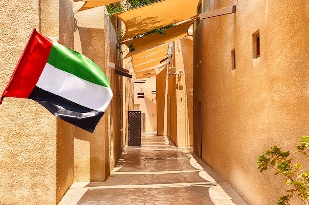 Traditionele arabische straten in de historische wijk al fahidi, al bastakiya. dubai