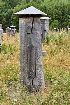 Traditionele bijenkorven - bijengom of log bijenkorven - in een bijenstal in een open plek in het bos