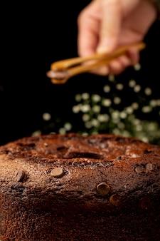 Traditionele bruine chocoladetaart
