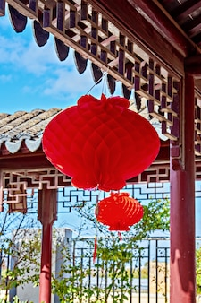 Traditionele chinese rode lantaarn opgehangen in de tuin tijdens het vieren van chinees nieuwjaar