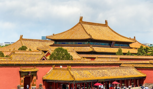 Traditionele daken van de verboden stad in peking, china
