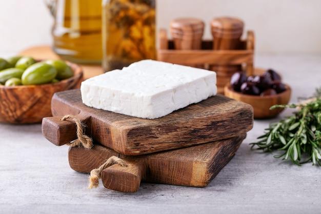 Traditionele griekse feta van de voorgerechtfeta kaas