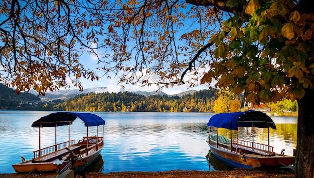 Traditionele houten boten op het meer van bled, slovenië.