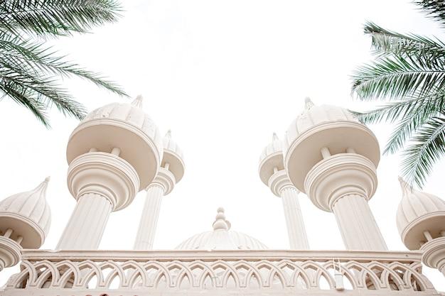 Traditionele islamitische moskee tussen de palmbomen bij zonnig weer.