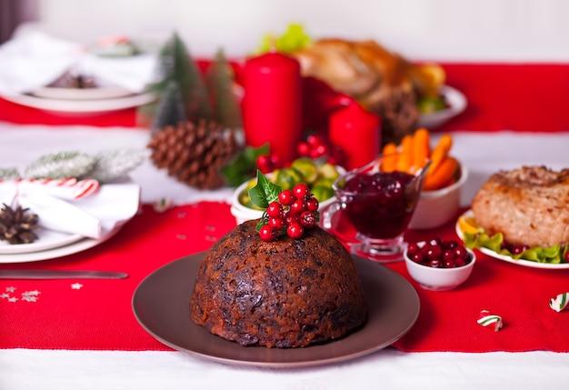 Traditionele kerstpudding
