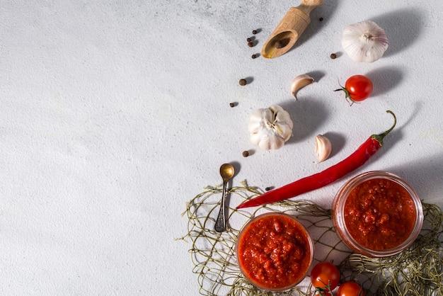 Traditionele mexicaanse, georgische en arabische harissa peper