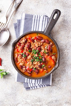 Traditionele mexicaanse schotel chili con carne
