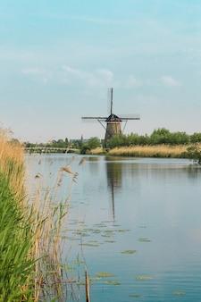 Traditionele nederlandse windmolens met groen gras op de voorgrond
