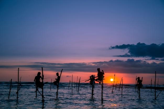 Traditionele steltenvisser in sri lanka