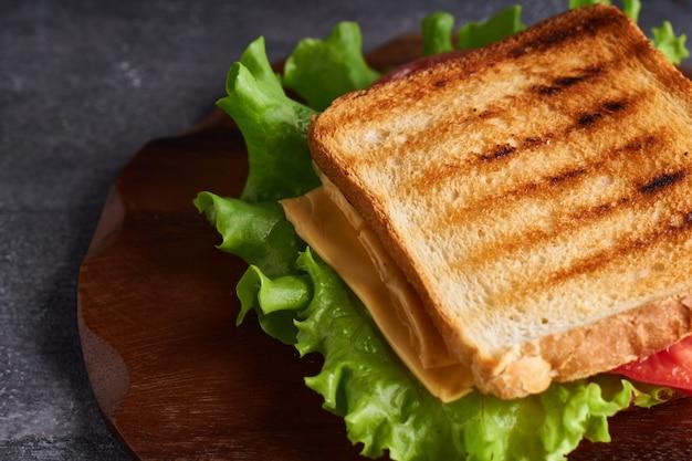 Traditionele vegetarische sandwich met tomaten en kaas op een grijze stenen tafel exemplaarruimte