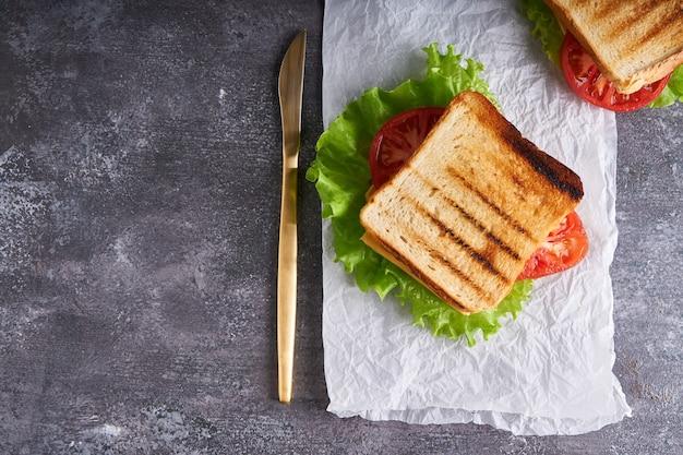 Traditionele vegetarische sandwich met tomaten en kaas op een grijze stenen tafel verticaal