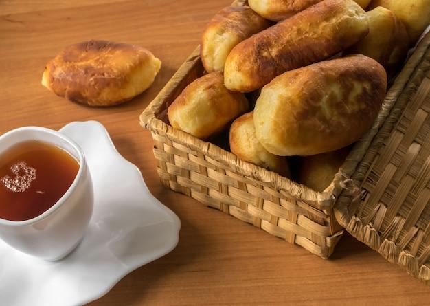 Traditionele zelfgemaakte gebakken pasteitjes of taarten met jam in een rieten mand naast een witte kop thee.
