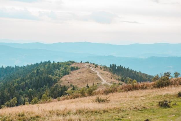Trail weg in bergen herfst landschapsmening