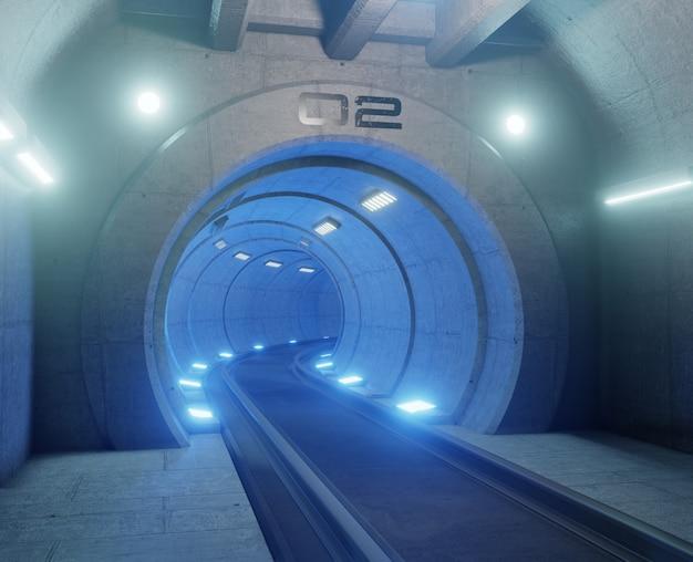 Train tunnelfictie in interieur rendering sci-fi