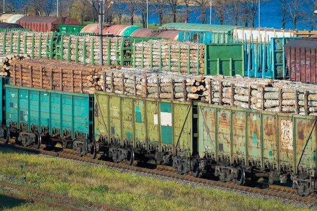 Trainen met boomstammen op het treinstation