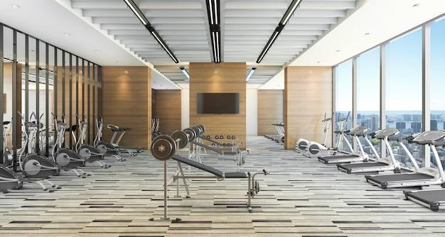 Training in moderne stijl en fitnessruimte met uitzicht op de stad