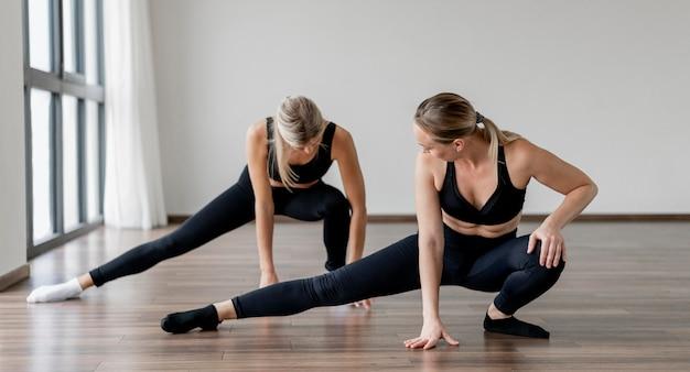 Trainingsprogramma trainer en cliënt doen side lunges