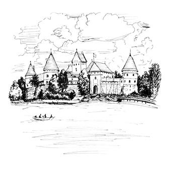Trakai island castle in de buurt van vilnius, litouwen