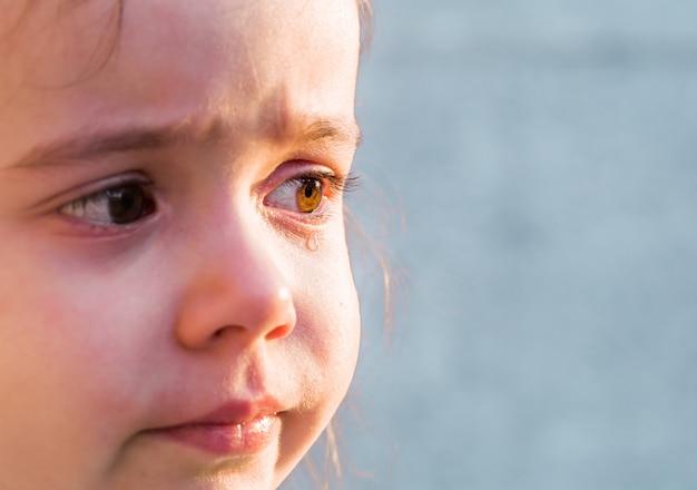 Tranen de emoties van een klein meisje, op het grijze gras