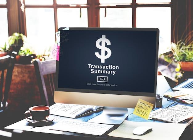 Transactieoverzicht bedrijfsboekhoudingsconcept