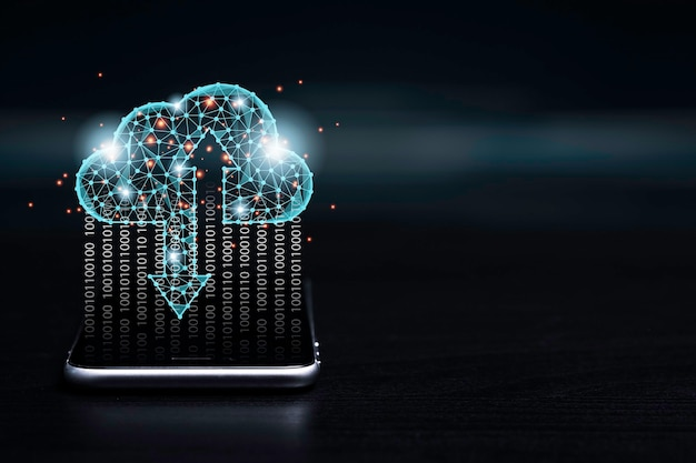 Transformatieconcept van cloud computing-technologie, virtuele cloud computing voor overdracht, upload en download informatiegegevens met smartphone.