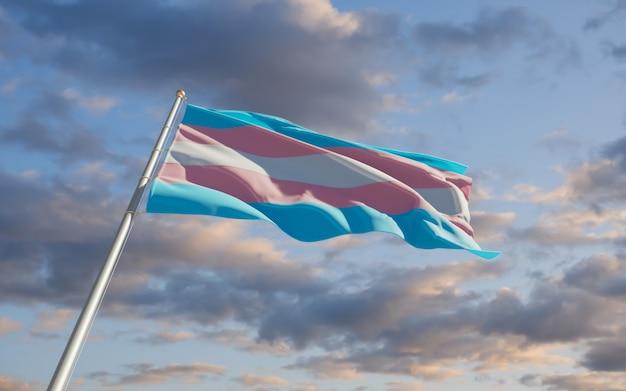 Transgender pride-vlag. 3d-illustraties