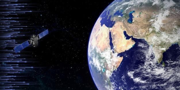 Transmissie van satellieten in de ruimte boven de aarde