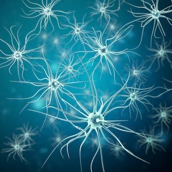 Transmissiesignalen van neuronen in het hoofd op blauw.