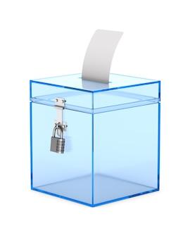 Transparant stemkastje. geïsoleerde 3d-weergave