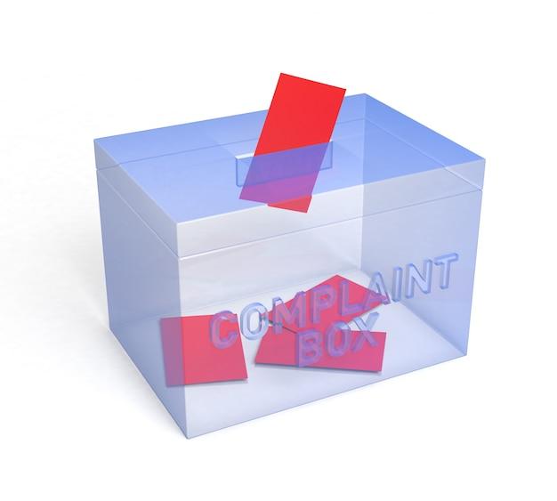 Transparante blauwe klachtenbox, voor uw. 3d-rendering