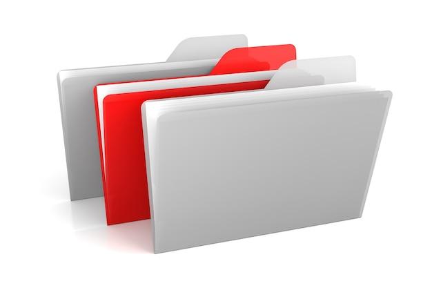 Transparante kleurmappen en bestanden. 3d-rendering