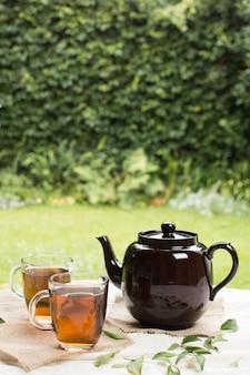 Transparante mok twee van aftreksel met theepot op lijst in tuin