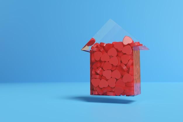 Transparante pijl omhoog gevuld met rode harten.