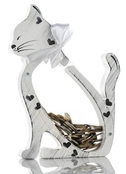 Transparante spaarpot in de vorm van een kat. geïsoleerd