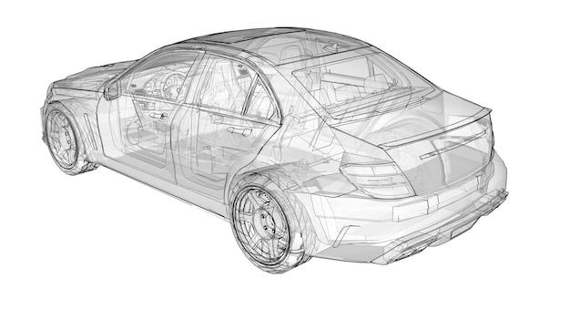Transparante supersnelle sportwagen afgebakende lijnen op een witte achtergrond. carrosserievorm sedan. tuning is een versie van een gewone gezinsauto. 3d-rendering.