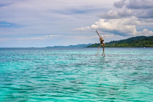 Transparante zee, groen bos in het afgelegen strand van malenge, togean eilanden, sulawesi, indonesië.