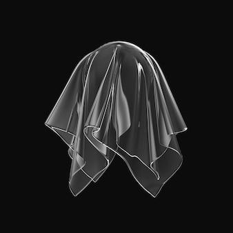 Transparante zijde stof geïsoleerd op zwart