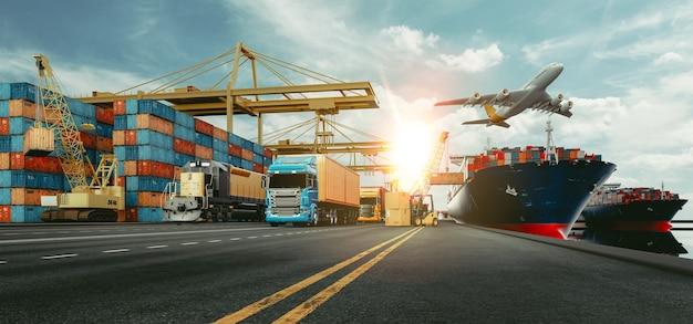 Transport en logistiek van containervrachtschip en vrachtvliegtuig. 3d-rendering en illustratie.