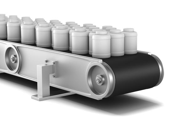 Transportband op witte ruimte. geïsoleerde 3d-afbeelding